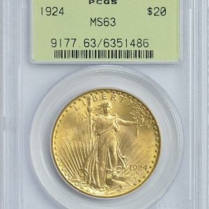 PCGS 1924 MS63 $20 Saint