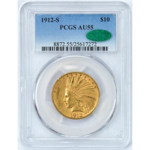 PCGS CAC 1912-S AU55 Gold Indian Gold coin